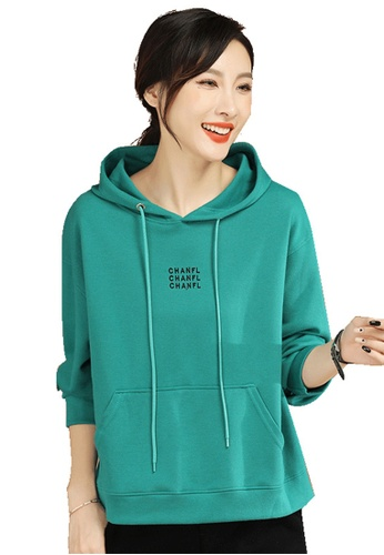 A-IN GIRLS green Loose Hooded Sweatshirt E8E7EAA19F7F58GS_1