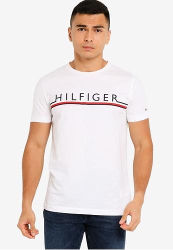 Tommy Hilfiger white Corp Stripe Tee B2ED2AADB9B38DGS_1