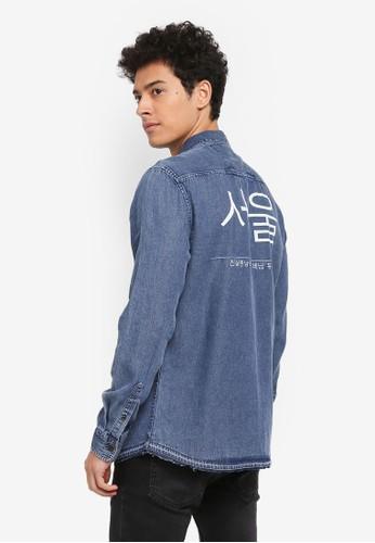 Only & Sons blue and multi Tatum Seoul Print Denim Shirt 681BAAA764485FGS_1