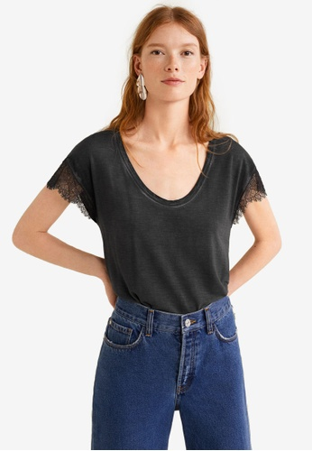 Mango black Lace Panel T-Shirt 290E2AA70CC79EGS_1