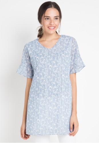 MINEOLA blue Mineola V Neck Chiffon Midi Dress Blue A1BF7AAA467523GS_1