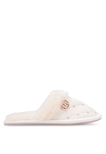 River Island white Quilted Stud Slippers RI009SH0S328MY_1