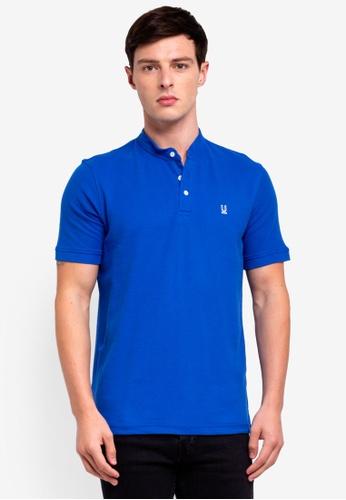 UniqTee 藍色 Basic 立領POLO衫 92C0CAAE1B8ADAGS_1