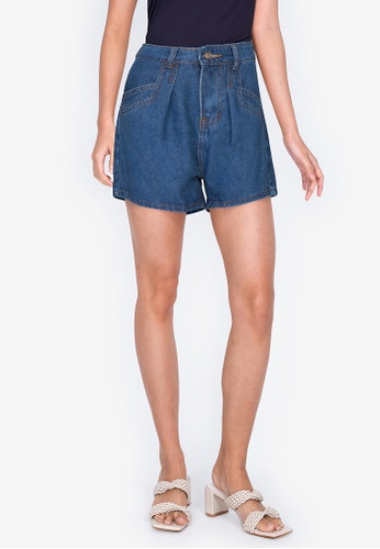 ZALORA BASICS blue A-Line Shorts with Pocket Detail 7AF29AA035C6C9GS_1