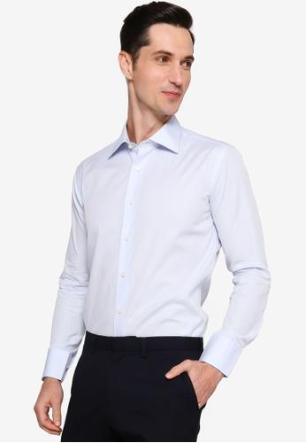 Sacoor Brothers blue Men's Plain Slim Fit Oxford Shirt 60E4BAA507A7E6GS_1