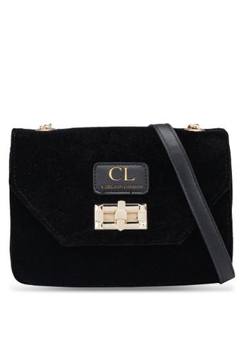 Carlton London black Velvet Sling Bag 5BB94AC4FEF158GS_1