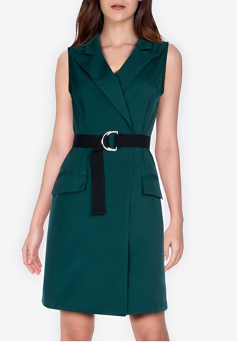 ZALORA WORK green Lapel Wrap Dress 00A04AA5EFD158GS_1