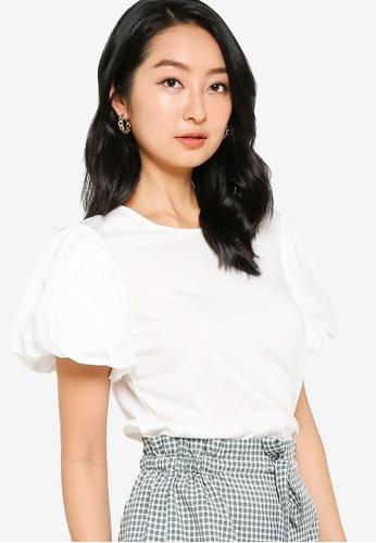 ZALORA BASICS 白色 Cotton Puff Sleeve T-Shirt 188E1AA9C7EA14GS_1
