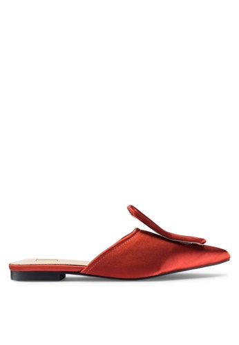 Berrybenka 橘色 綢緞穆勒鞋 9562CSH3A3496FGS_1