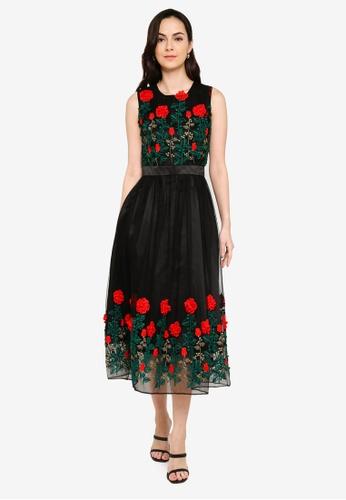 Megane black Red Romance Alyssa 3D Flora Dress DE87EAABB1017CGS_1