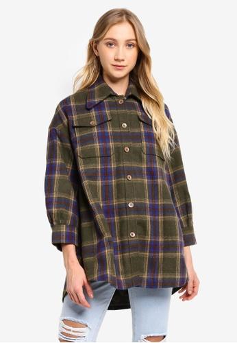 Hopeshow green Tailored Checkered Wool Coat 4DDF9AA3EC6B21GS_1