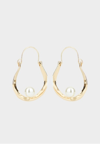Pomelo gold Pearl Accent Hoop Earrings - Gold A96B3ACD19B2BCGS_1