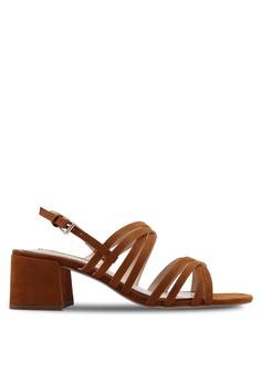 6e04592d0a1 Miss Selfridge brown Tan Multi Strap Block Heeled Sandals D3539SHF81F587GS 1