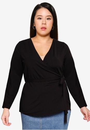 Vero Moda black Plus SIze Long Sleeve Wrap Blouse F7445AA8DBD30FGS_1