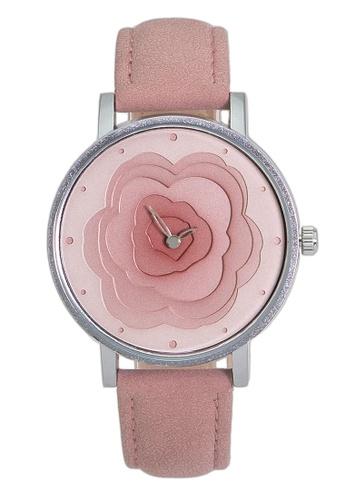 Chronomart pink Nafisa Women's Unique 3D Dial Analog Leather Strap Watch 4BAF3AC8131633GS_1