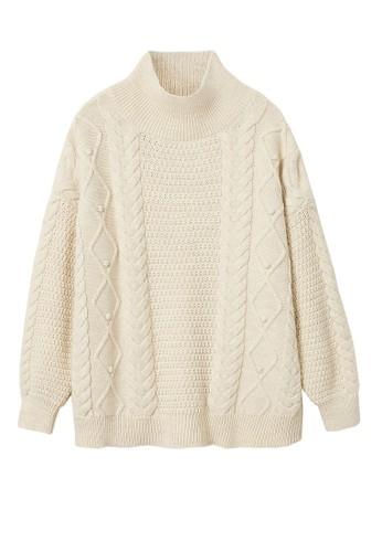 Mango beige Knitted Braided Sweater 3CD08AAF43AF60GS_1