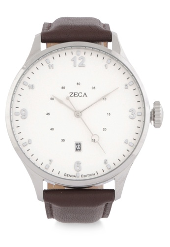 ZECA silver and brown Genoa Edition Male Analogue - 2016MB.LBR.D.S1 690C7ACC52904EGS_1