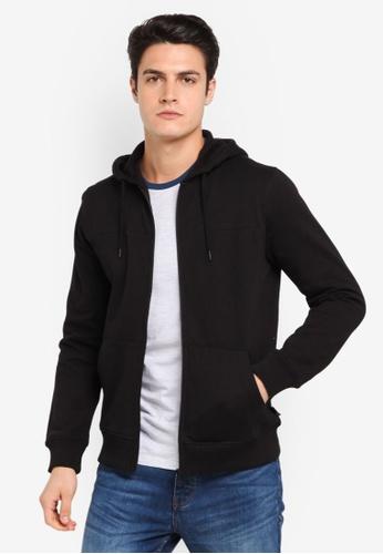 Burton Menswear London 黑色 連帽休閒運動外套 BU964AA0T1I3MY_1