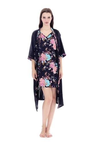 Cynthia black Blossom Kimono Satin Set-Black 4C87BAACED51BAGS_1