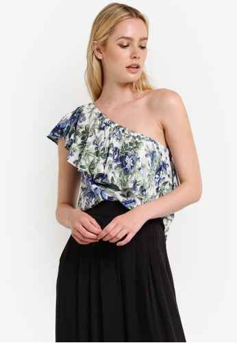 WAREHOUSE multi Lily Print One Shoulder Top WA653AA97RPYMY_1