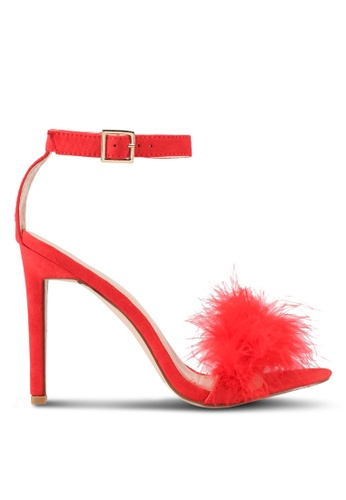 Public Desire red Chemistry Faux Feather Detail Barely There Heels PU378SH0SIPHMY_1