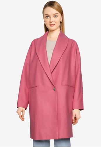 French Connection pink Ricio Platform Wool Cocoon Coat 2BAF5AA4FB1EC0GS_1