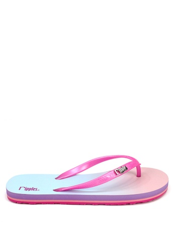 Ripples pink and multi Gradient Ombre Flip Flops RI425SH70OXDSG_1