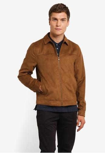 Burton Menswear London brown Tan Suedette Collar Trucker Jacket BU964AA0ROAMMY_1