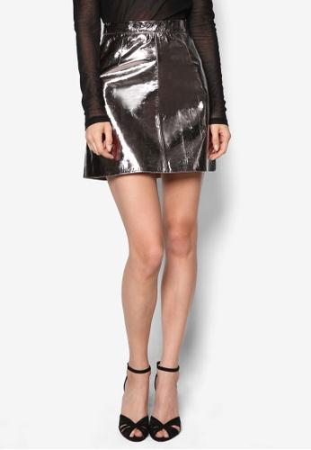 Miss Selfridge silver Silver Leather Mini Skirt MI665AA80PHFMY_1