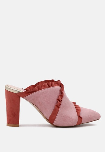 London Rag pink Slay by London Rag  High Heel Pointed Mule with Ruffles 2491BSH194E0F8GS_1