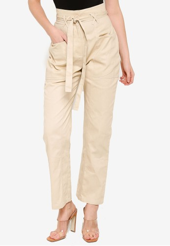 MISSGUIDED beige Paperbag Waist Belted Trousers 2D00BAAFBF4A88GS_1