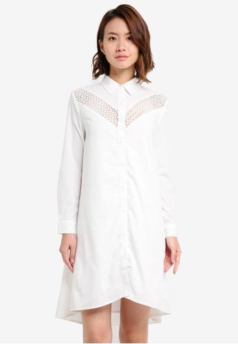 ZALORA white Lace Insert Shirt Dress 99438AAACE11B9GS_1