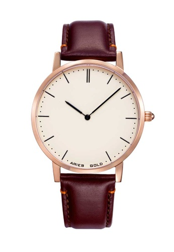 Aries Gold brown Aries Gold Urban Tango Rose Gold and Brown Leather Watch CBD5BAC348DE4CGS_1