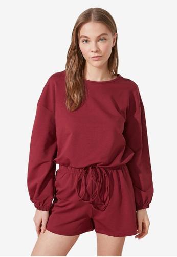 Trendyol 紅色 Plum Pajamas Set 48E50AADE5425CGS_1
