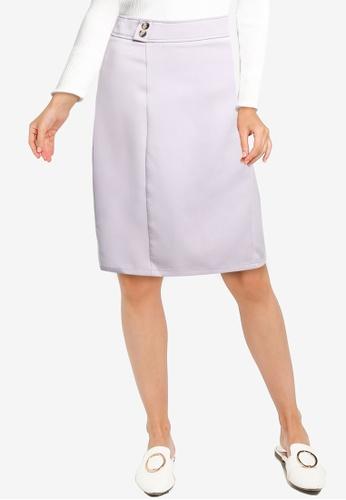 ZALORA WORK grey Button Detail Skirt A7521AA598D114GS_1