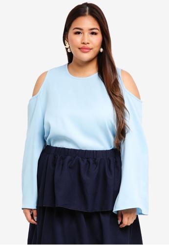 CURVA FABULOUS blue Ms Zairina Cold Shoulder Top 0A771AA9F60A0DGS_1