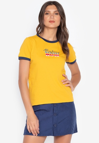 Embroidered Woman Ringer T Shirt