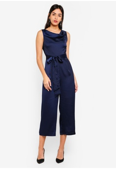 2fbbf16eb1699 WAREHOUSE navy Cowl Culotte Jumpsuit 21AF0AAC53DA32GS 1