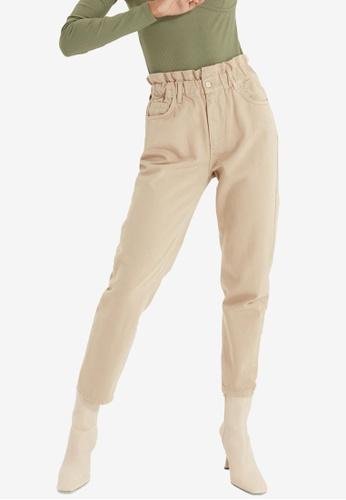 Trendyol beige High Waist Paperbag Mom Jeans 992D2AA75D7A61GS_1