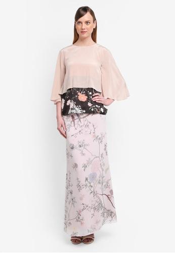 YADOTSA for ZALORA black and pink and beige Tashia Printed Tiered Kurung YA729AA0STH1MY_1