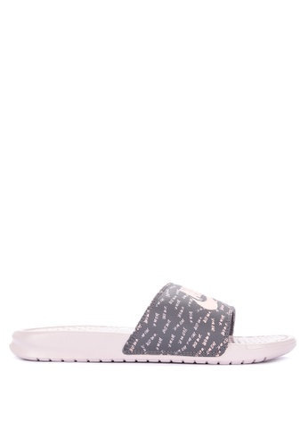 "Nike grey and pink Women's Nike Benassi ""Just Do It."" Sandals 6DCC4SH1501446GS_1"