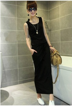 Casual O-Neck Solid Straight Long Dress
