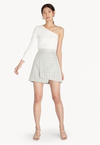 Pomelo grey Plaid Elastic Waist Skirt - Light Grey AC64CAA7430878GS_1