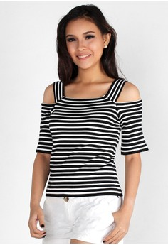 Chic Thick Strapped Cut Out Shoulder Top