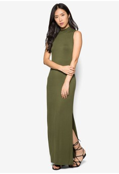 Basics High Neck Maxi Dress With Slit