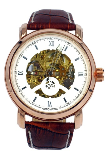 Chronomart white and brown and gold Orkina Automatic Movement Leather Band Men's Wrist Watch CH783AC13XCKPH_1