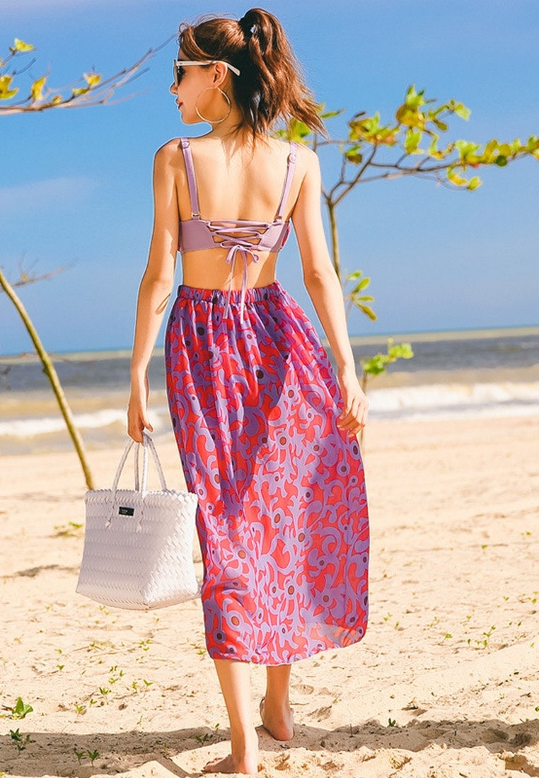 Printed Floral Lady Set Beachwear LYCKA One Red LVV09930 with Piece Pattern SkirtRed 6wfxqEtnEa