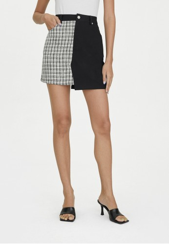 Pomelo black Two Tone Tweed Denim Skirt - Black 3F4E7AACBC636CGS_1