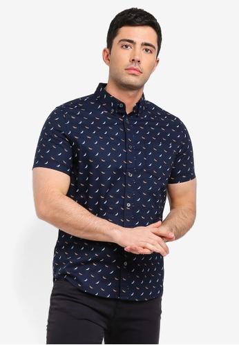 Burton Menswear London 白色 短袖羽毛印花襯衫 4F0A8AA6F161A5GS_1