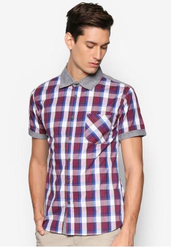拼色格紋短袖襯衫, 服飾, 襯esprit 台中衫